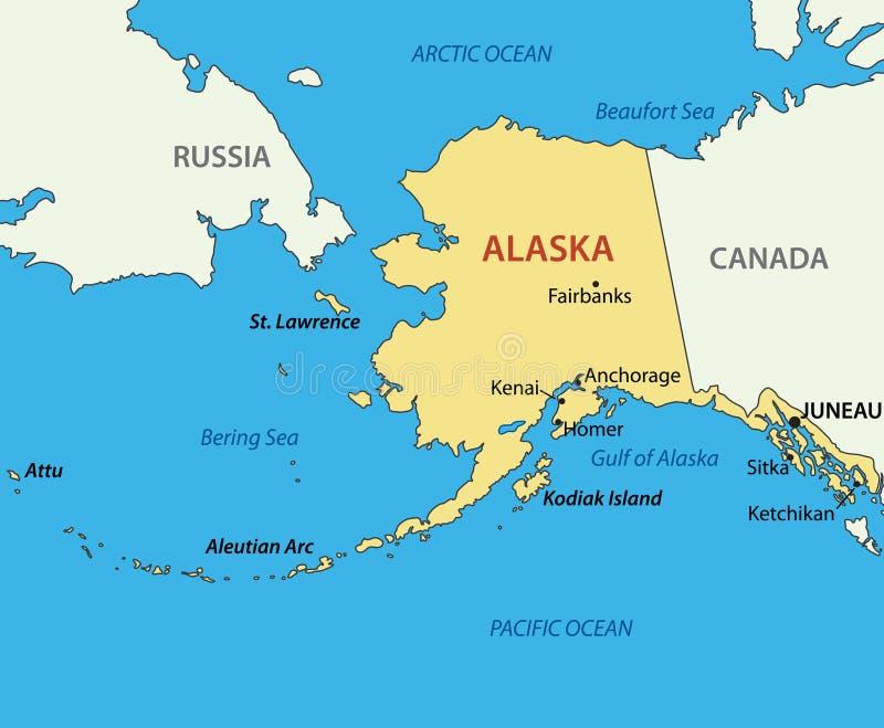 Alaska - mapa do vetor do país ilustração stock