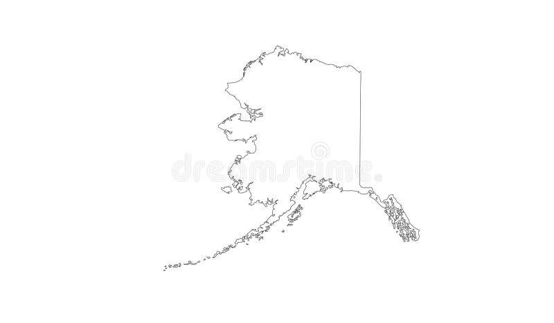 Alaska mapa - U S stan w północnego zachodu skraju Północna Ameryka ilustracji