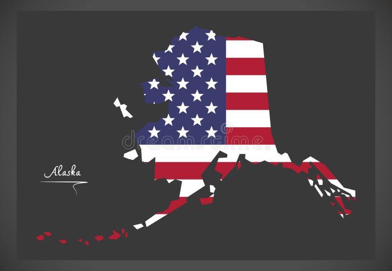 Alaska mapa z Amerykańską flaga państowowa ilustracją EPS royalty ilustracja