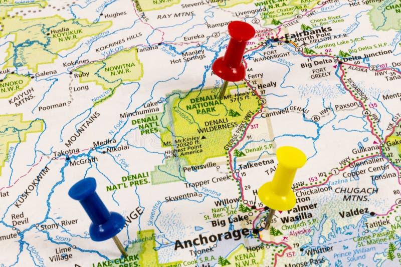 Alaska mapy Denali zakotwienie obraz stock