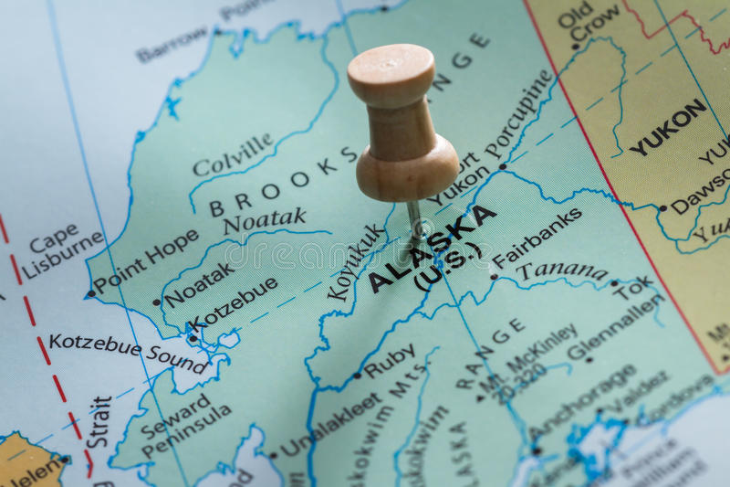 Alaska marcó en un mapa fotografía de archivo libre de regalías