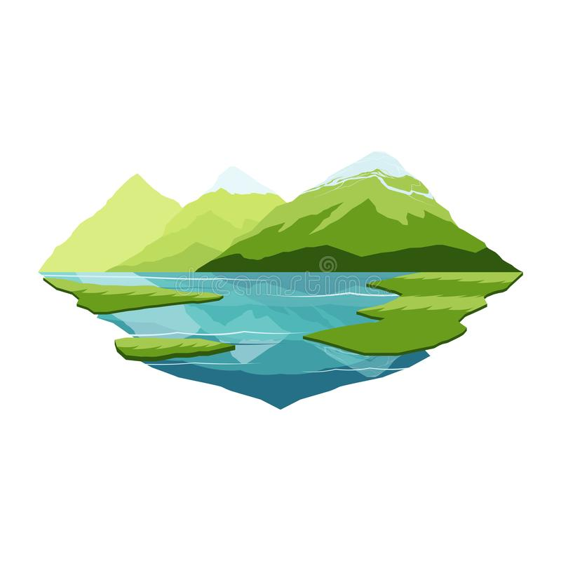Alaska Mountain and Lake Reflection Landscape vector illustration