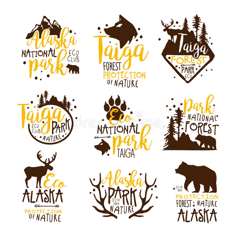 Alaska National Park Promo Signs Series Of Colorful Vector Design Templates With Wilderness Elements Silhouettes. Natural Protected Forest Park Labels In Flat royalty free illustration