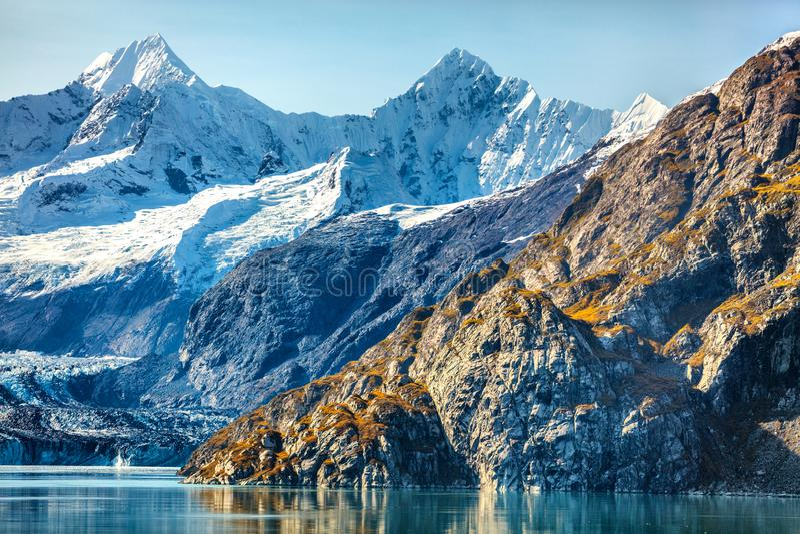 Alaska nature travel glacier bay national park. Alaska nature travel. Glacier Bay National Park, Alaska, USA. Glaciers landscape of alaska mountain peaks and royalty free stock photos