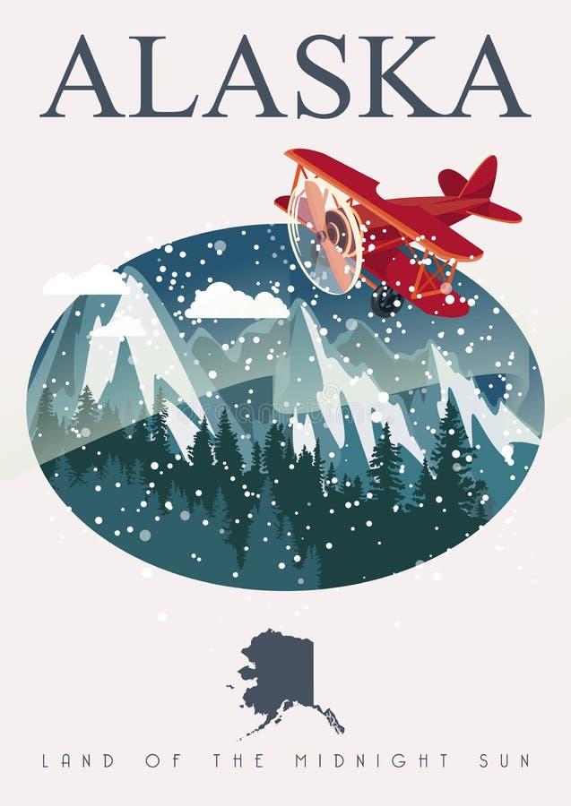 Alaska podróży amerykański sztandar royalty ilustracja