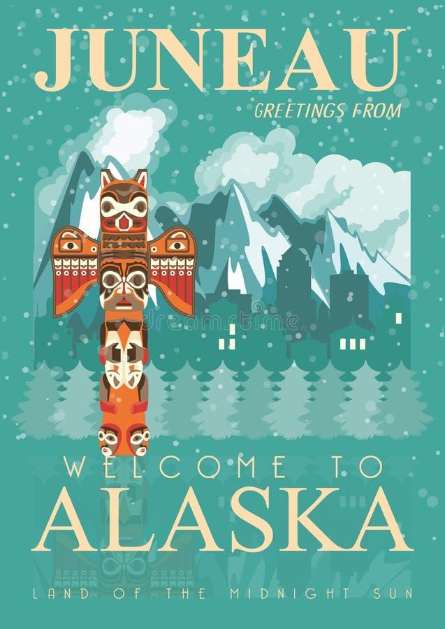Alaska podróży amerykański sztandar juneau ilustracji