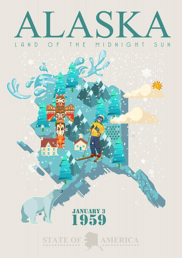 Alaska podróży amerykański sztandar Plakat z mapą ilustracji