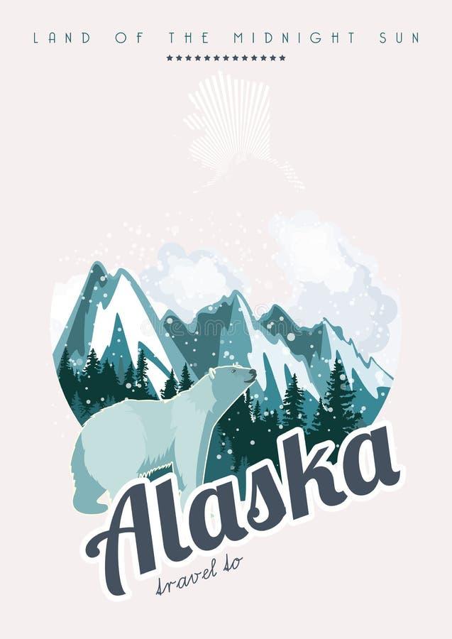 Alaska podróży amerykański sztandar Podróż Alaska ilustracji