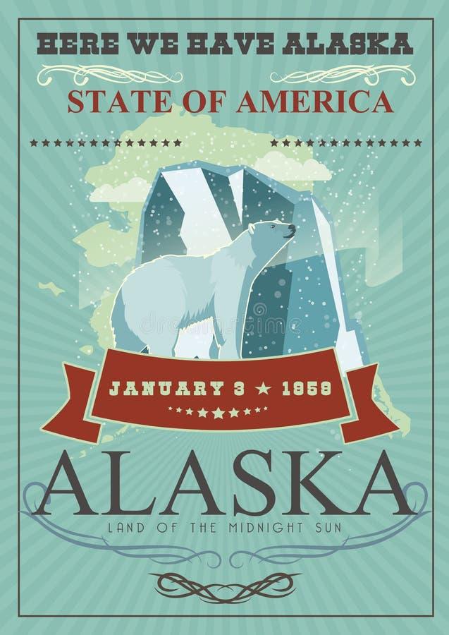 Alaska podróży amerykański sztandar Tutaj Alaska ilustracji