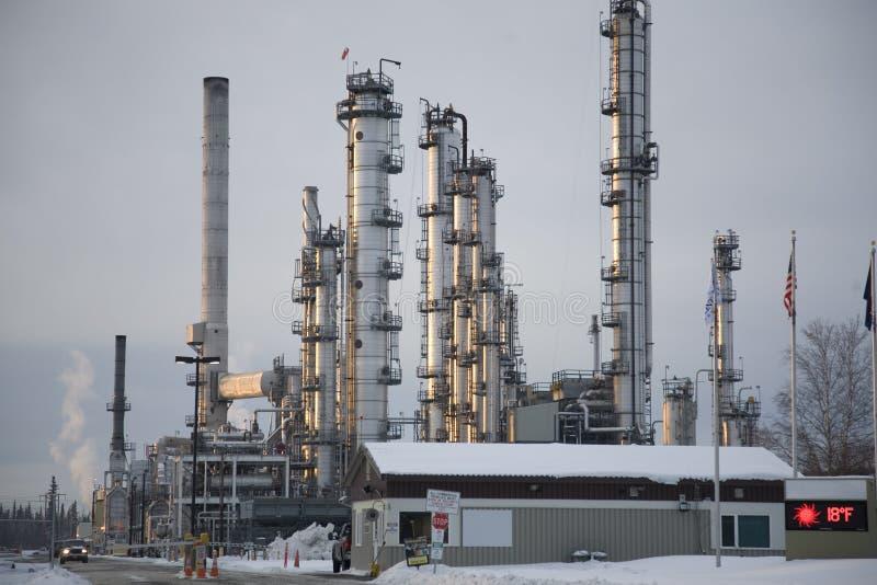 alaska råoljaraffinaderi arkivbild