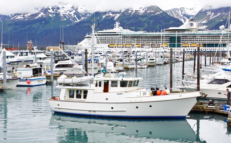 Alaska Seward Small Boat Harbor Cruise Ship stock image