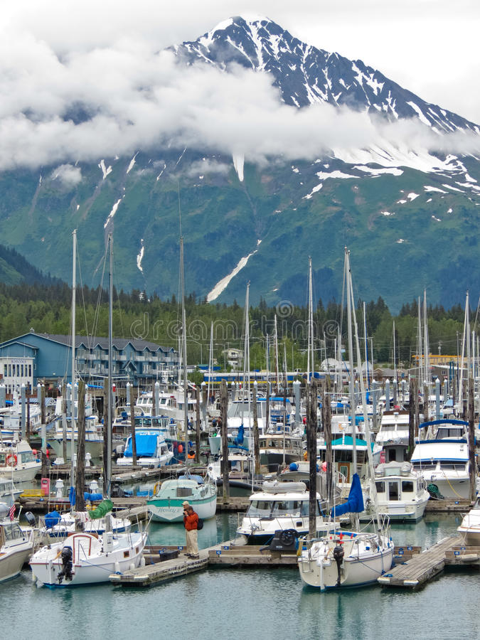 Free Alaska Seward Small Boat Harbor Resurrection Peaks Stock Photography - 28627732