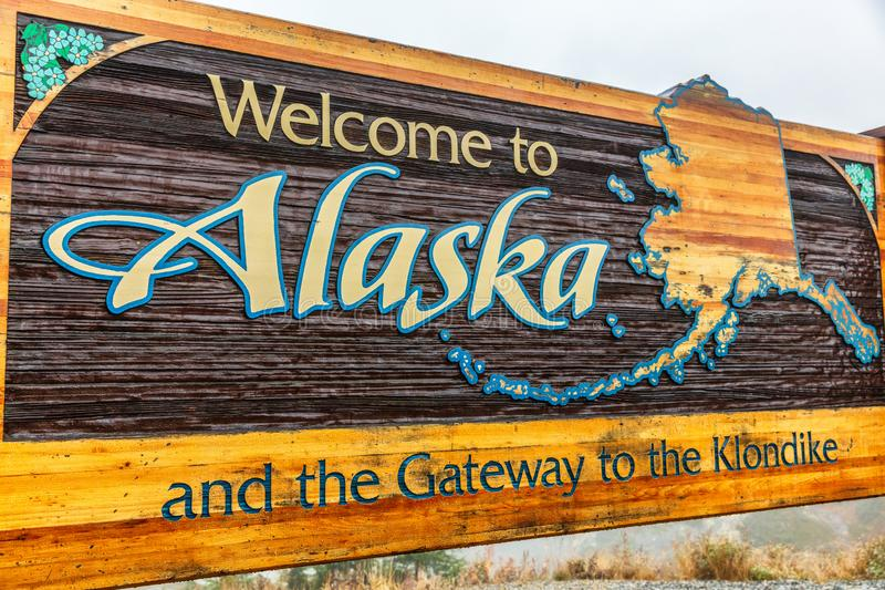 Alaska sign welcome billboad on the South Klondike Highway. Near Skagway royalty free stock image