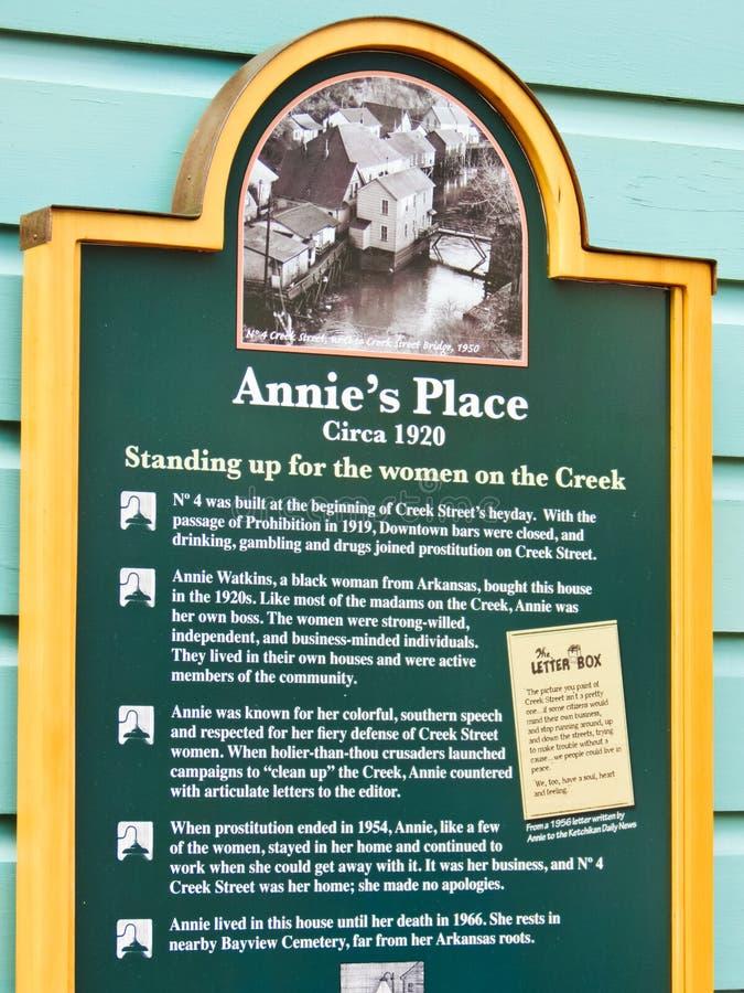 Alaska - sinal histórico do marcador do lugar de Annie da rua da angra fotografia de stock royalty free