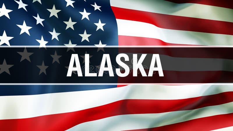 Alaska stan na usa flagi tle, 3D rendering Zlani stany Ameryka zaznaczają falowanie w wiatrze Dumny flagi amerykańskiej falowanie ilustracja wektor