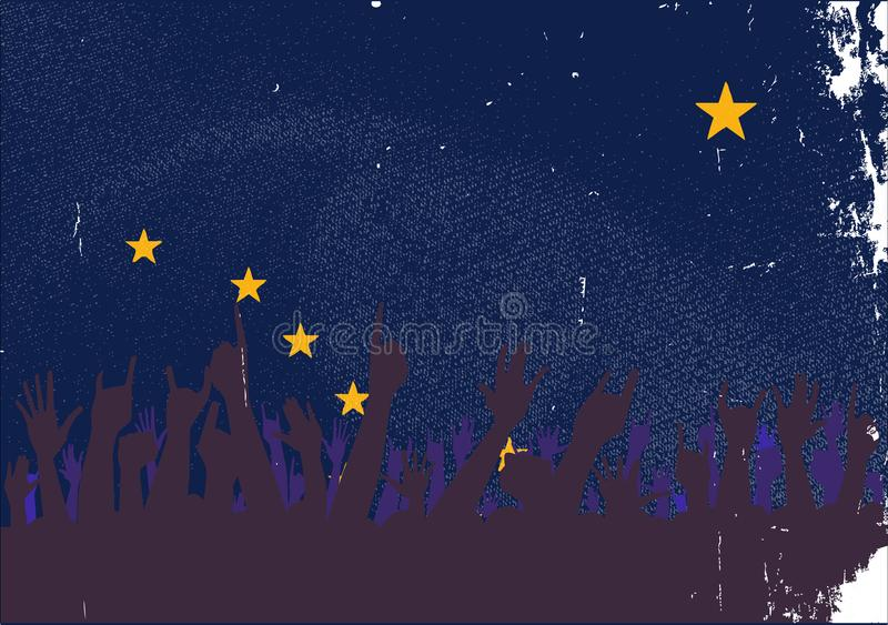 Alaska State Flag with Audience Reaction stock illustration
