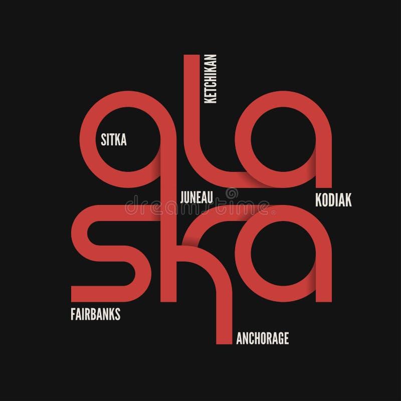 Alaska state. T-shirt and apparel vector design. stock illustration