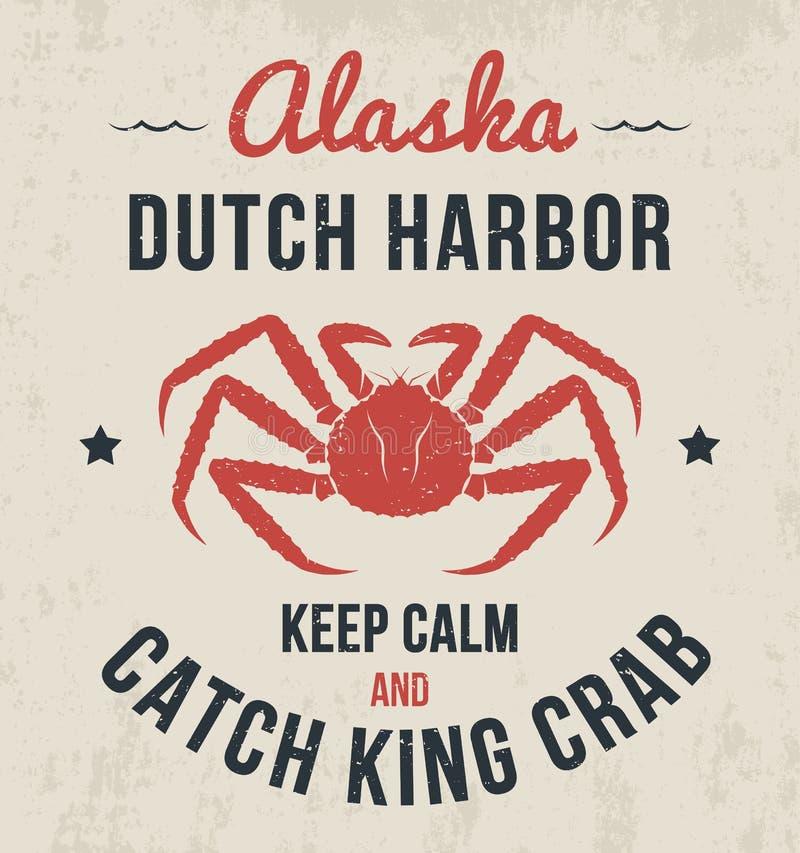 Alaska-T-Shirt Design, Druck, Typografie, Aufkleber mit Königskrabbe vektor abbildung
