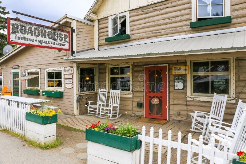 Alaska Talkeetna Roadhouse Sławna stróżówka fotografia stock