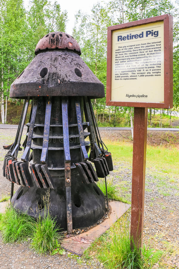Alaska - trans-Alaska het Varkensvertoning van de Pijpleidingsschraper royalty-vrije stock foto's