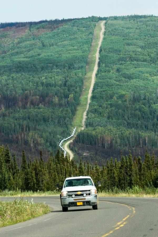 Alaska- - Trans-Alaska-Rohrleitung Elliot Highway Fire Damage stockfoto