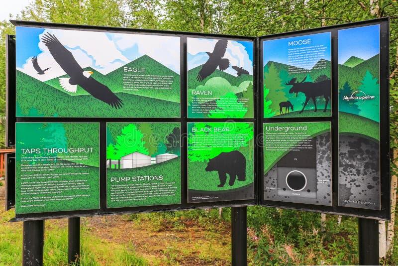 Alaska- - Trans-Alaska-Rohrleitungs-pädagogische Anzeige stockfotografie