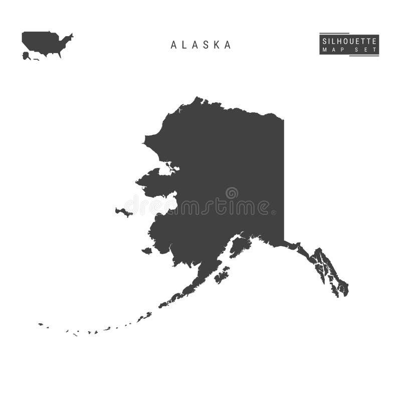 Alaska USA påstår vektoröversikten som isoleras på vit bakgrund Hög-specificerad svart konturöversikt av Alaska royaltyfri illustrationer