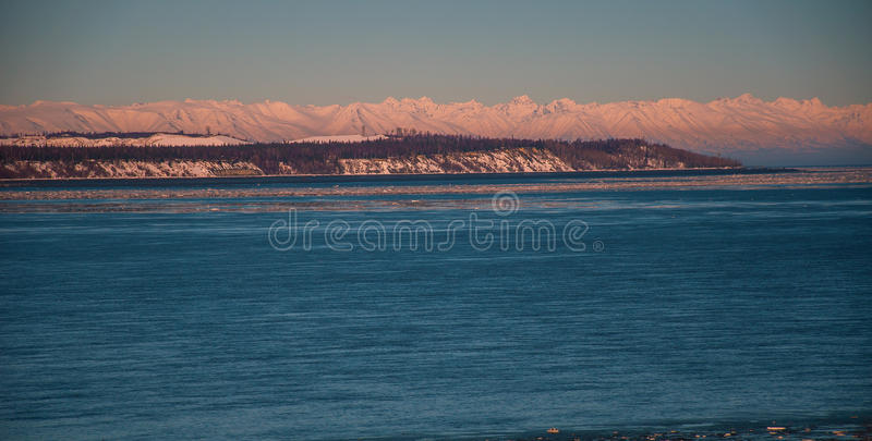 Alaska Volcanoes Mountain North Arctic Circle Winter Paradise Sunset stock photo