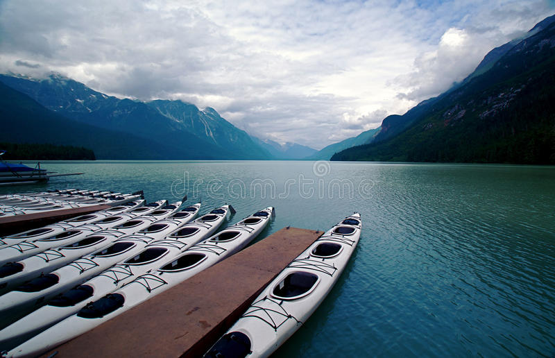 Alaskan Bay and Sea Kayaks royalty free stock photography