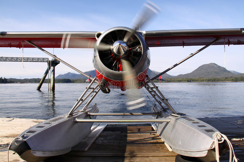 Alaskan Float Plane Warming Up. An Alaskan float plane in Ketchikan warms up and prepares to take off for a flightseeing adventure into Misty Fjords National