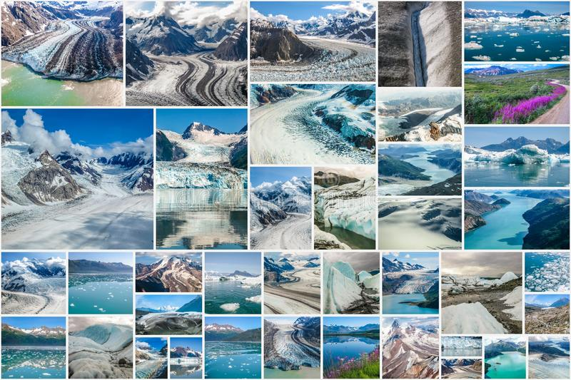 Alaskan glaciers collage. Glaciers picture collage of different famous National Parks of Alaska including Denali, Wrangell St. Elias, Kenai Fjords, Matanuska stock image