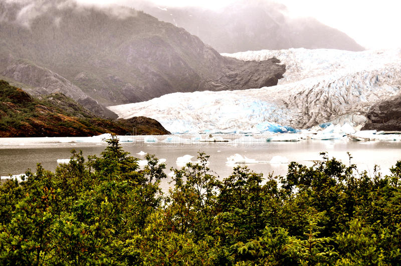 Alaskan Glaciers. With icebergs and mountains stock images