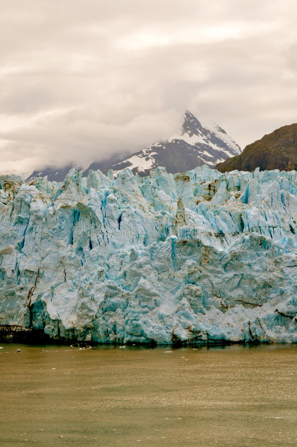 Alaskan Glaciers. With mountains and clouds stock image