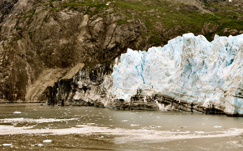 Alaskan Glaciers. With mountains and water royalty free stock photos