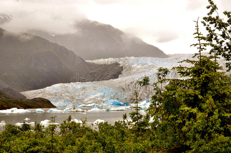 Alaskan Glaciers. With trees on the right stock image