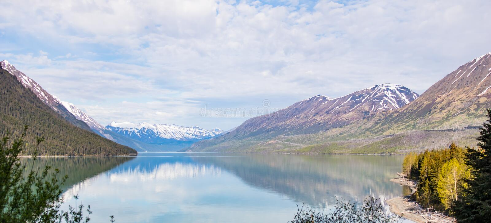 Landscape Reflection: Alaska Mountains Reflected from a Calm Lake royalty free stock images