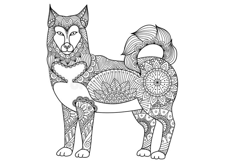 Alaskan malamute dog line art design for tattoo, t shirt design, coloring book for adult and so on - stock royalty free illustration