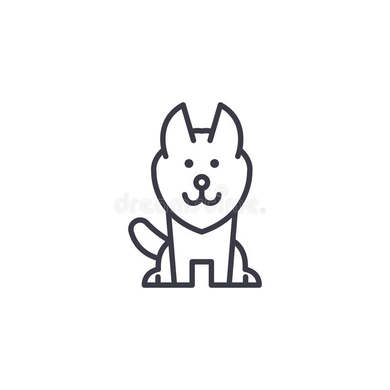 Alaskan malamute vector line icon, sign, illustration on background, editable strokes royalty free illustration