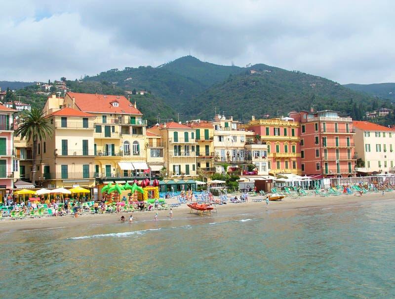 Alassio beach. View of the italian coast, Alassio, Italy stock photos