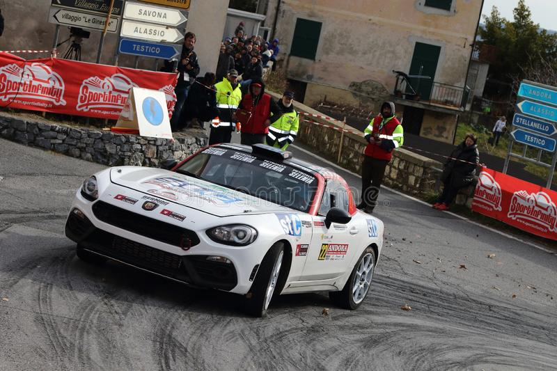 Albenga Italy - A Fiat 124 Abarth race car during the first time trial in the town of Testico. Alassio Italy - A Fiat 124 Abarth race car during the first time stock image