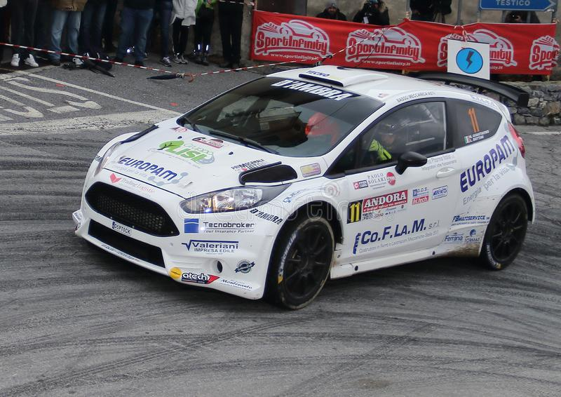 Albenga Italy - A Ford Fiesta R5 race car during the first time trial in the town of Testico. Alassio Italy - A Ford Fiesta R5 race car during the first time royalty free stock photo