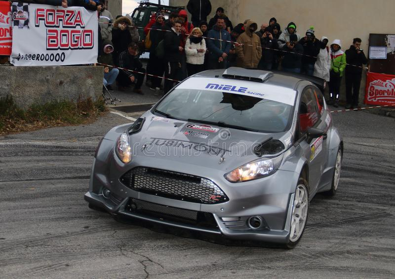 Albenga Italy - A Ford Fiesta R5 race car during the first time trial in the town of Testico. Alassio Italy - A Ford Fiesta R5 race car during the first time stock photography