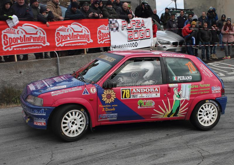 Albenga Italy - A Peugeot 106 during the first time trial in the town of Testico. Alassio Italy - A Peugeot 106 during the first time trial in the town of stock image