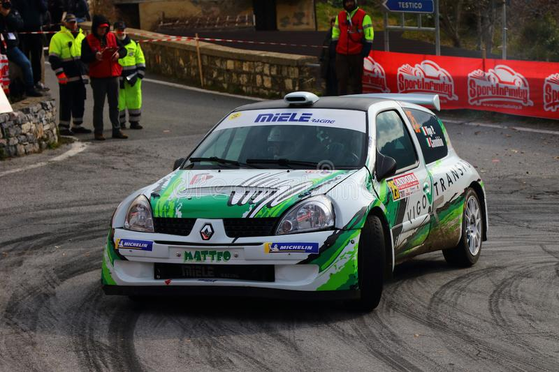 Albenga Italy - A Renault Clio race car during the first time trial in the town of Testico. Alassio Italy - A Renault Clio race car during the first time trial royalty free stock photography