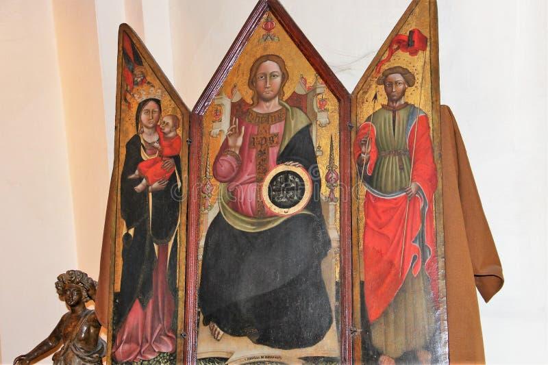 Alatri, średniowieczna wioska w środkowym Włochy Religijny produkt fotografia royalty free