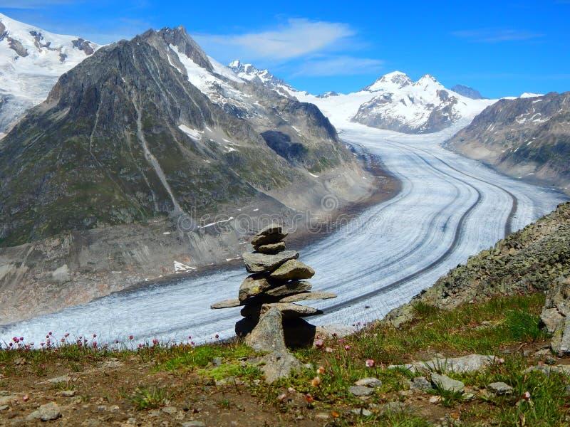 Alatsch-Gletscher, Alpen, die Schweiz stockbild