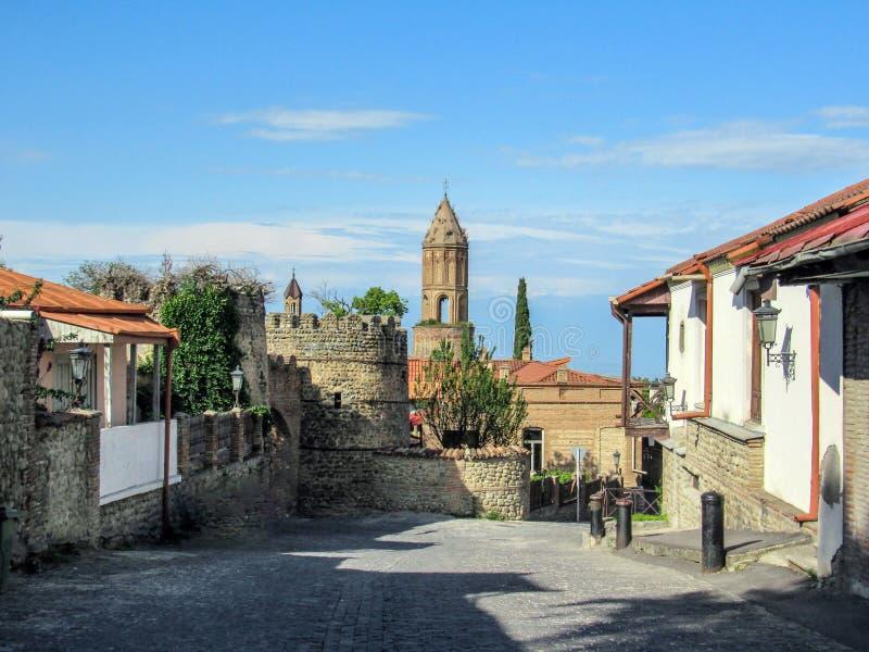 Alazanivallei, Kakheti, Georgië: Signagi de stad in in het gebied van Georgië van Kakheti en centrum van de Signagi-Gemeente binn royalty-vrije stock foto