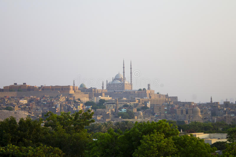 AlAzhar park with Cairo citadel in the background stock images