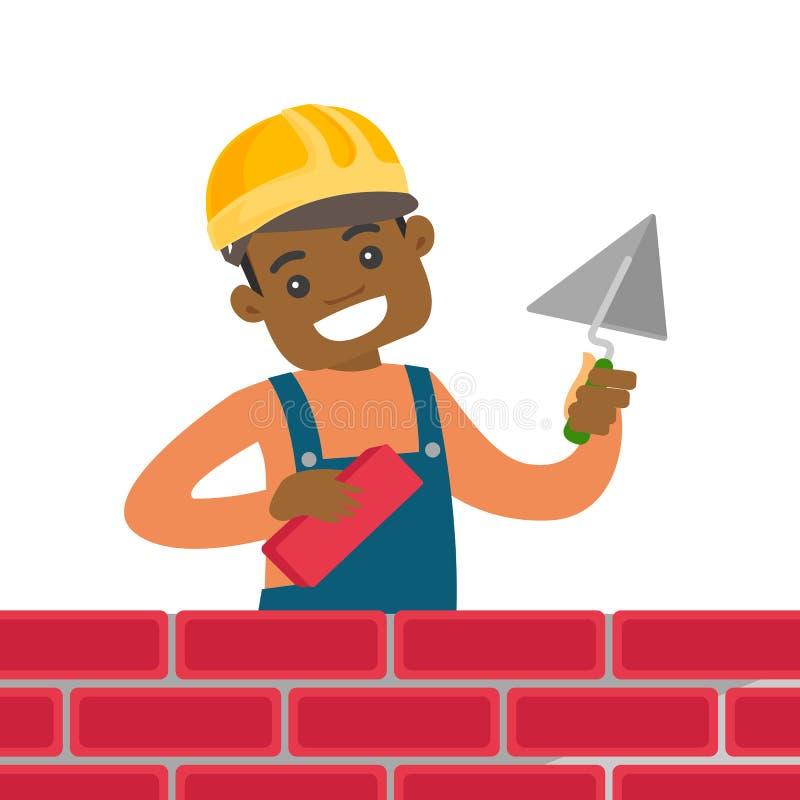 Albañil afroamericano que construye una pared de ladrillo stock de ilustración