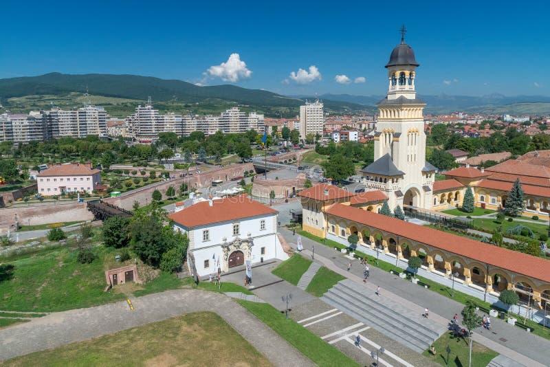 Alba вид с воздуха Iulia цитадели Alba-Каролины в Alba Iulia, Румынии стоковое изображение rf